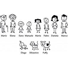 Personaggi adesivi auto famiglia