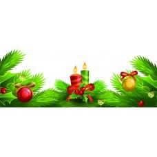 Vetrofania cornice vischio e candele